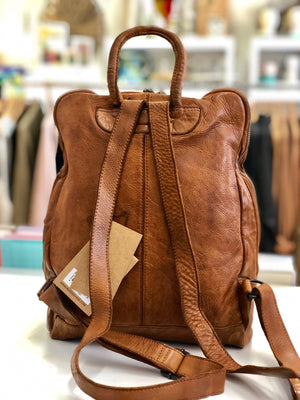 Lima Tan Leather BackPack