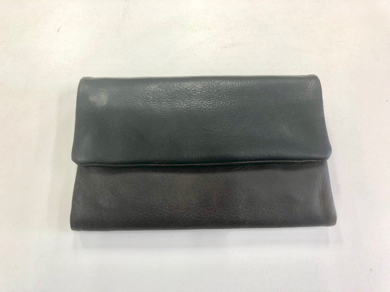 Oil Pull-up Leather Ladies Wallet- Dark Brown  with  Black Front