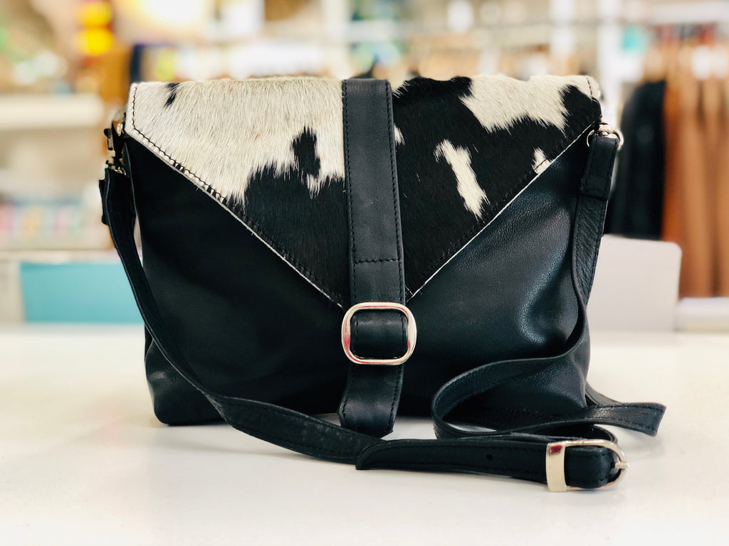 Black and White Cowhide Sling Bag