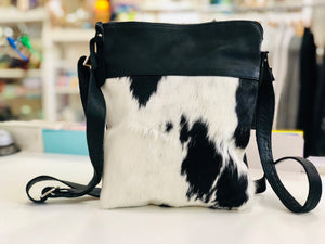 Black and White Cowhide Messenger bag
