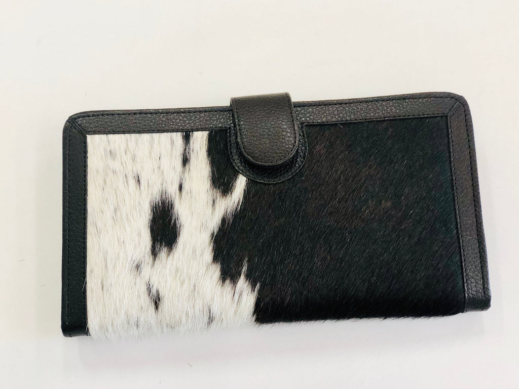 Chocolate and White Cowhide Wallet