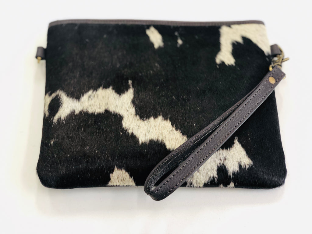 Chocolate & White Cowhide Clutch