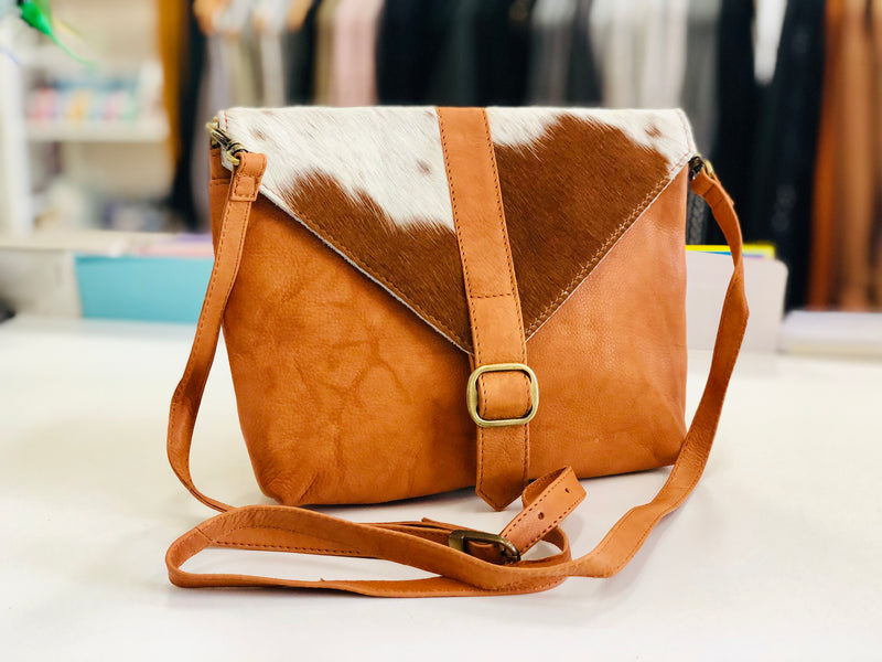 Dark Tan and White Cowhide Sling Bag