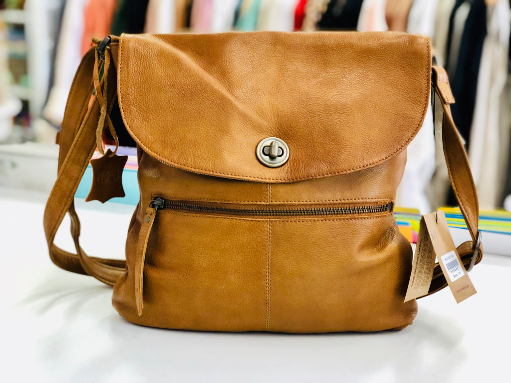 Tan - Leather Sling Bag
