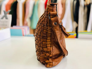 Woven Cross Body Leather Bag