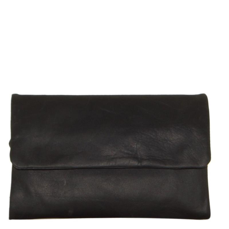 Oil Pull-up Leather Ladies Wallet- Black