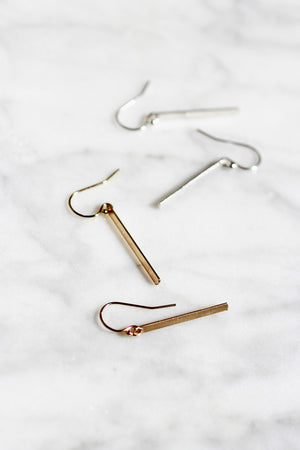Flat Modern Bar Earrings - Christine Elizabeth Jewelry - Glamour and Glow