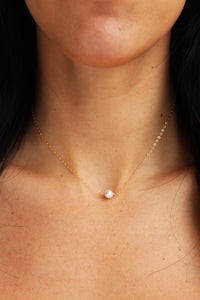 Pearl Solitaire Necklace - Christine Elizabeth Jewelry - Glamour and Glow  - 1