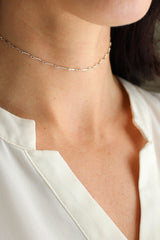 Soho Bar Chain Choker Necklace - Christine Elizabeth Jewelry - Glamour and Glow