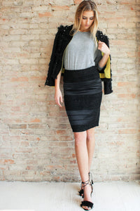 Elsie Pencil Skirt - Black - Glamour and Glow  - 2