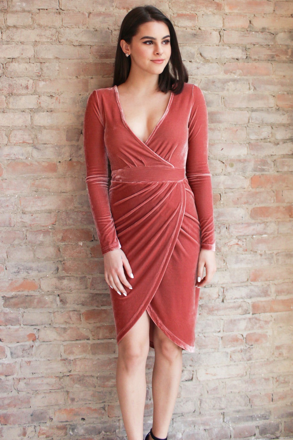 Aurora Velvet Dress - blush