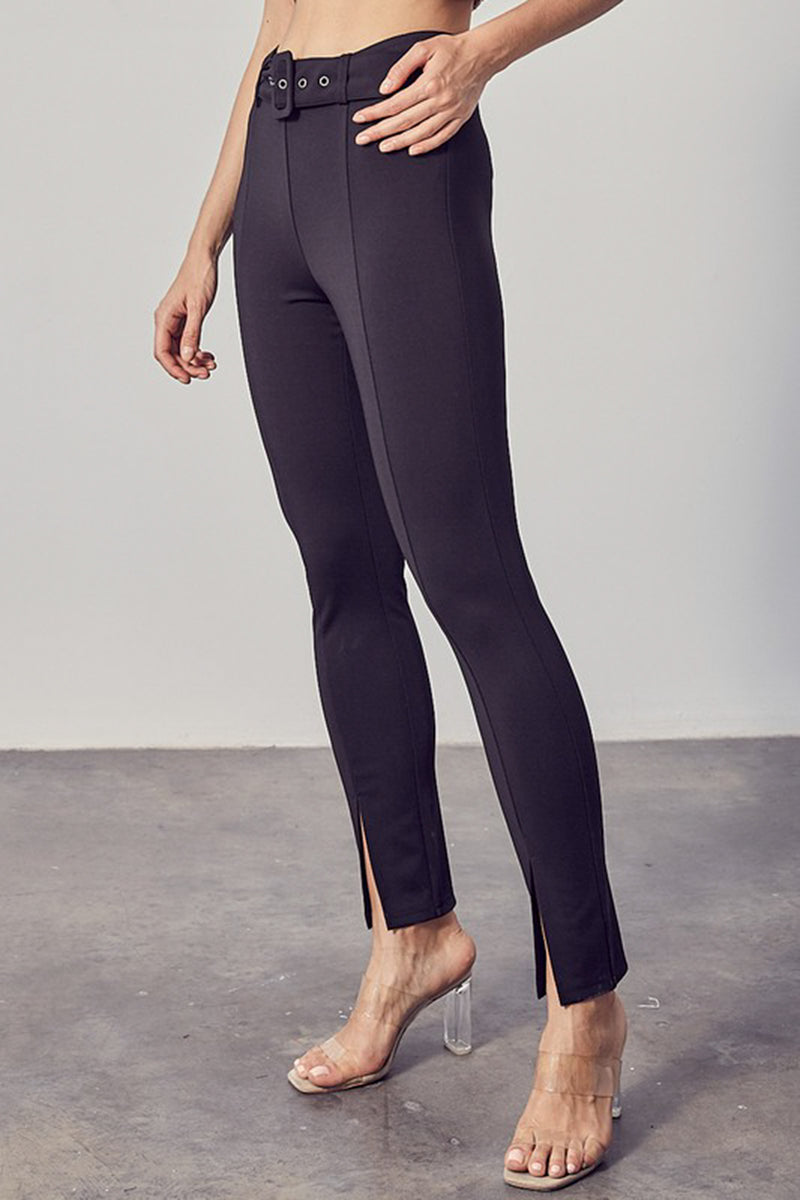 tight fitted black belted legging with center seam and ankle slits