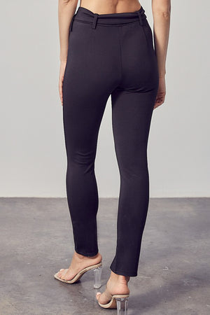 classic black belted leggings