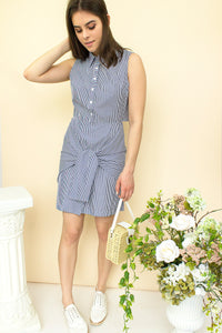 striped poplin dress with open back and waist tie