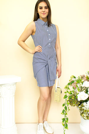 sleeveless shirt dress in blue and white striped with open back