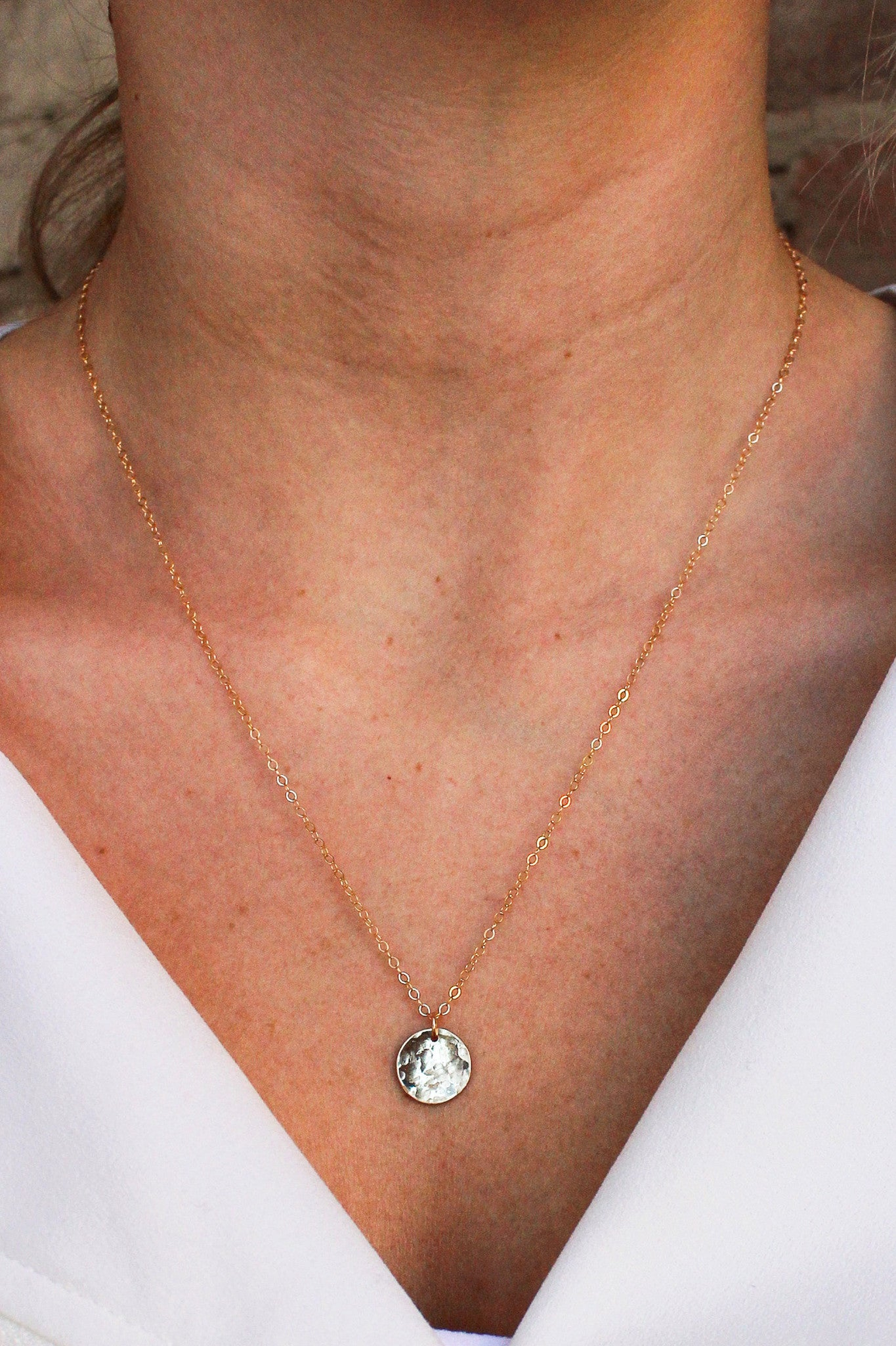 Petite Hammered Disc Necklace - Christine Elizabeth Jewelry - Glamour and Glow