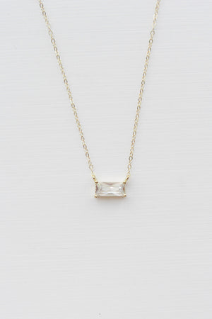 Minimalist Baguette Necklace - Christine Elizabeth Jewelry™ - Glamour and Glow