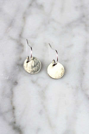 Petite Hammered Disc Earrings - Christine Elizabeth Jewelry