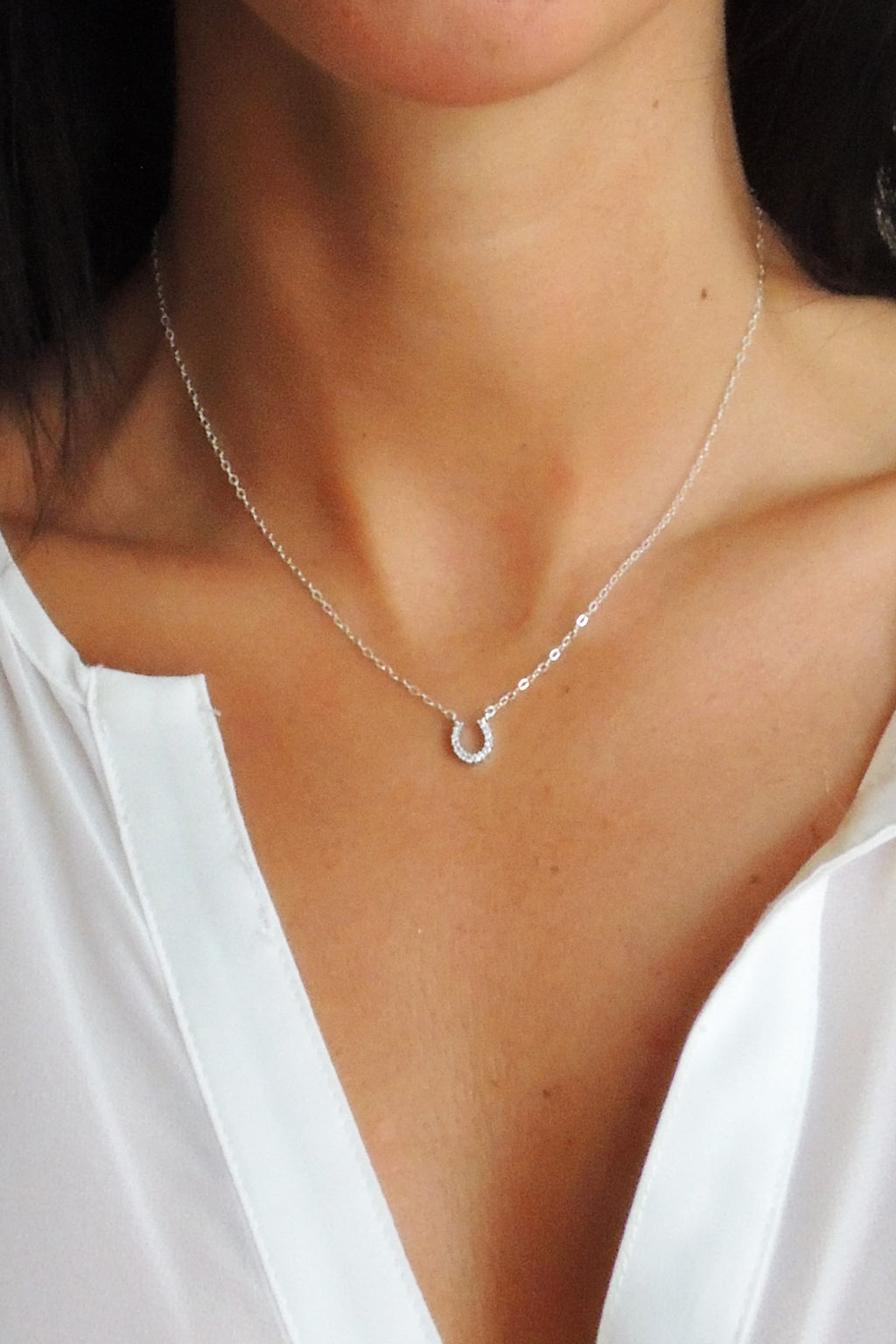 Lucky You Horseshoe Necklace - Christine Elizabeth Jewelry - Glamour and Glow