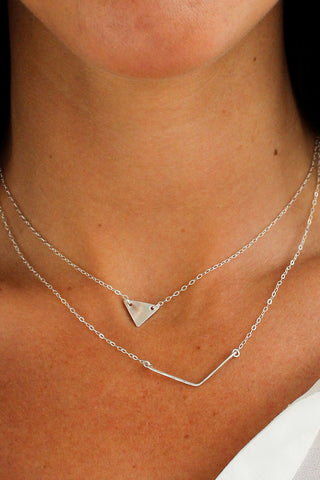 Hammered Chevron Necklace - Christine Elizabeth Jewelry - Glamour and Glow