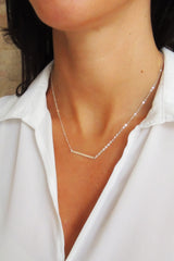 Flat Modern Horizontal Bar Necklace - Christine Elizabeth Jewelry - Glamour and Glow