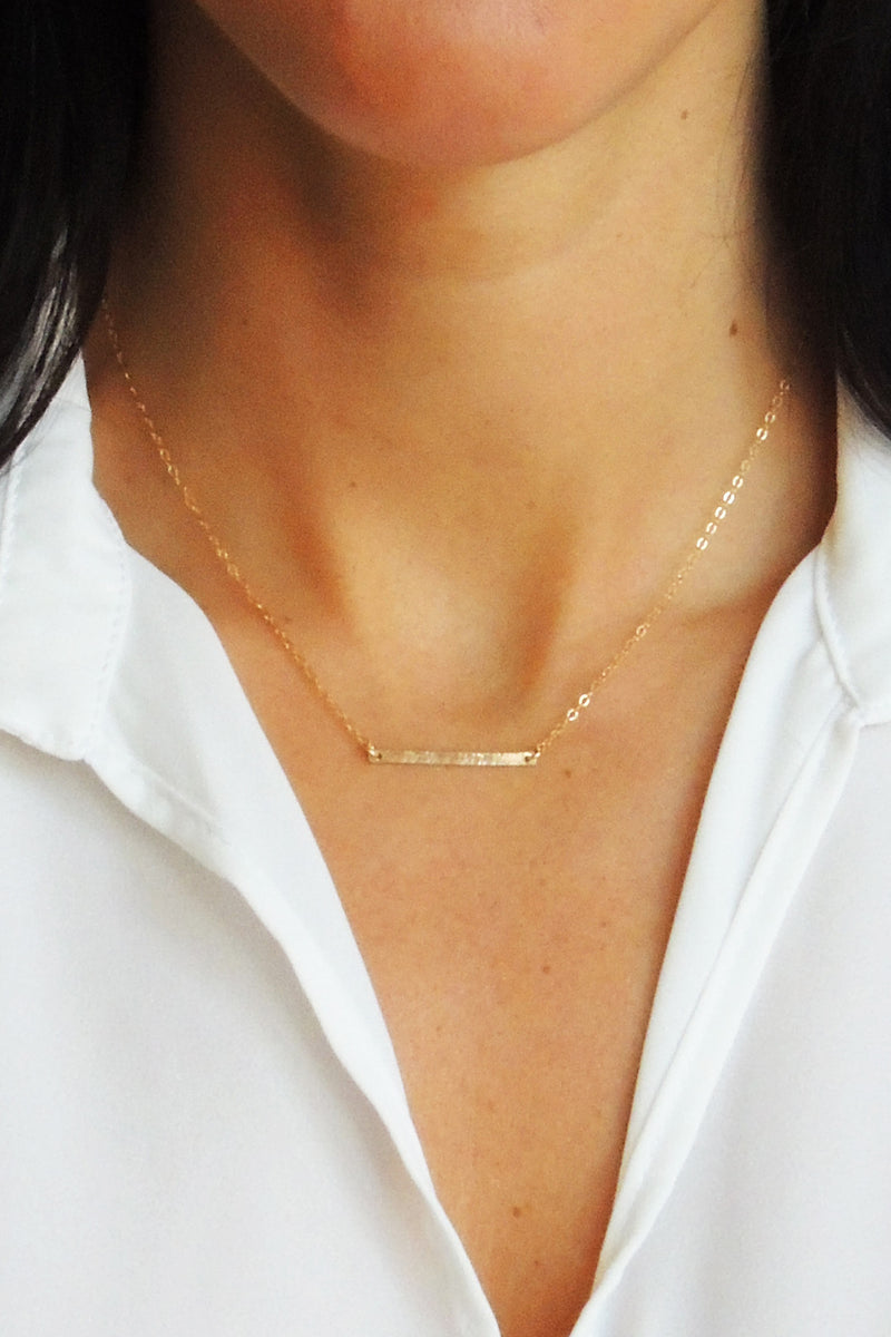 Hammered Horizontal Bar Necklace - Christine Elizabeth Jewelry - Glamour and Glow