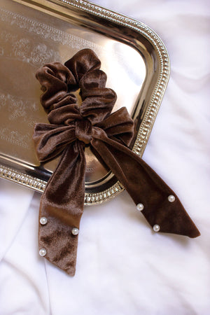 Velvet and Pearl Bow Scrunchie