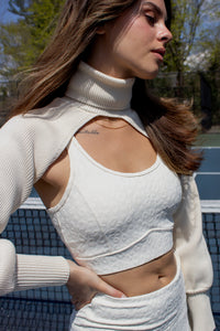 Cream ribbed knit bolero