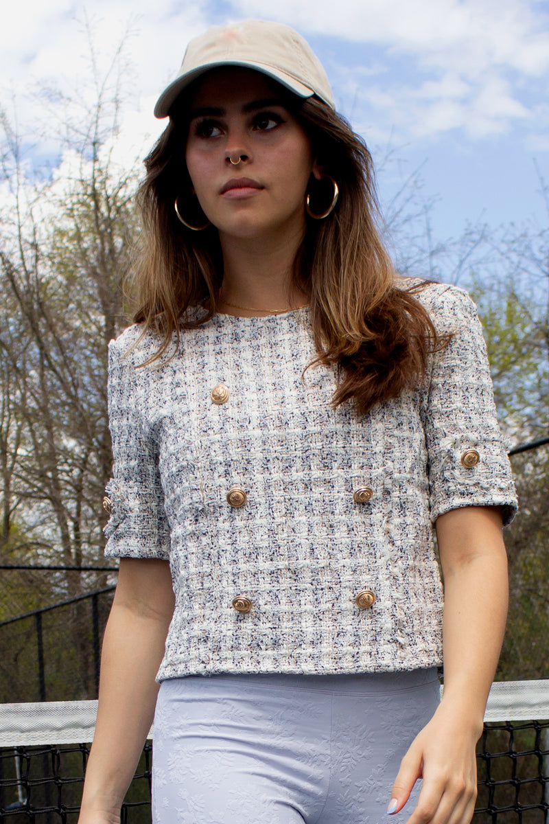 classic short sleeve tweed top for spring