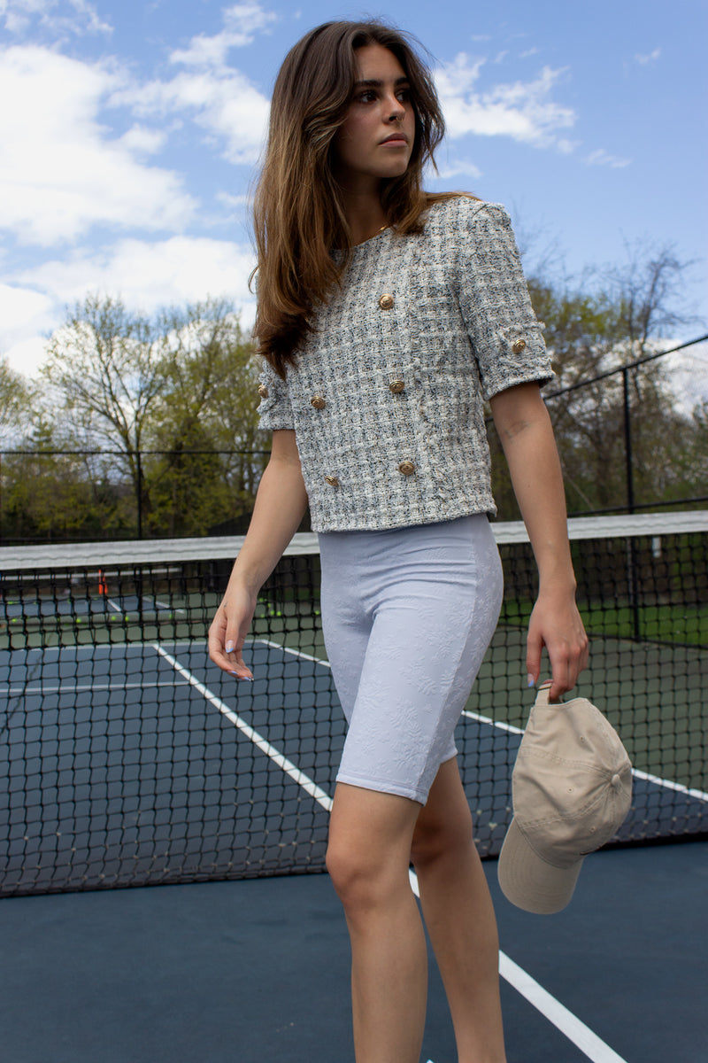 double breasted tweed top with gold buttons and short sleeves