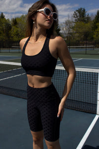tactel activewear set with matching polka dot sports bra top and short leggings