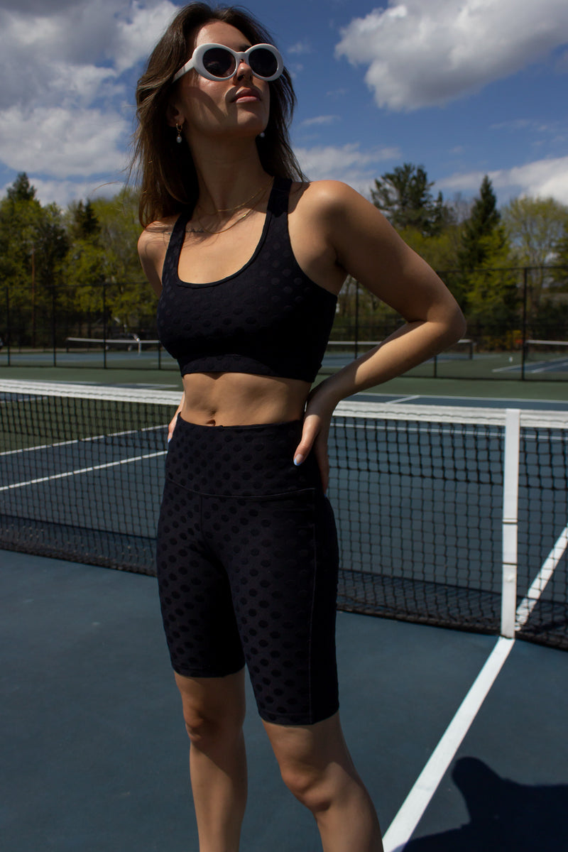 bermuda short leggings and sports bra top in black tactel fabric