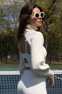 Cream knit cropped sweater