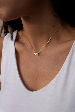 Minimalist Baguette Necklace - Christine Elizabeth Jewelry