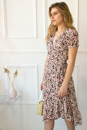 Augustana Leopard Midi Dress - berry