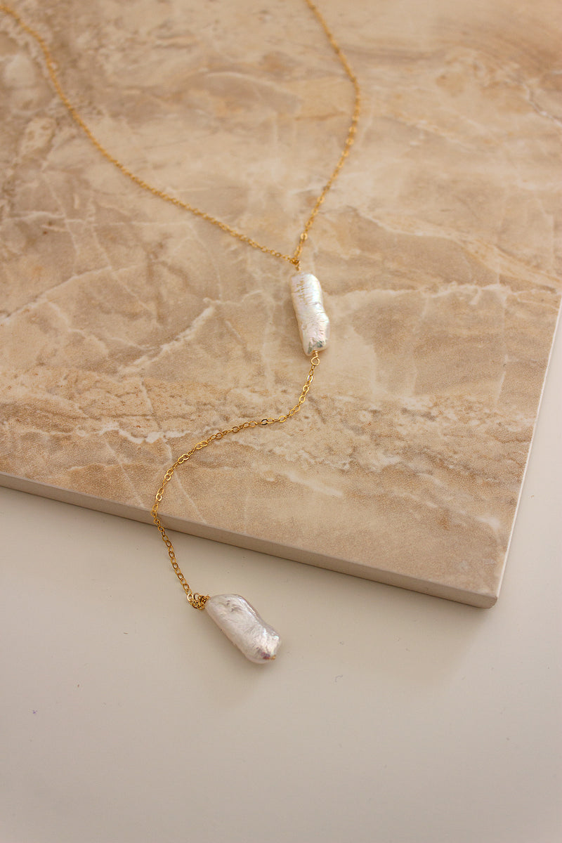 Freshwater Biwa Pearl Back Drop Necklace