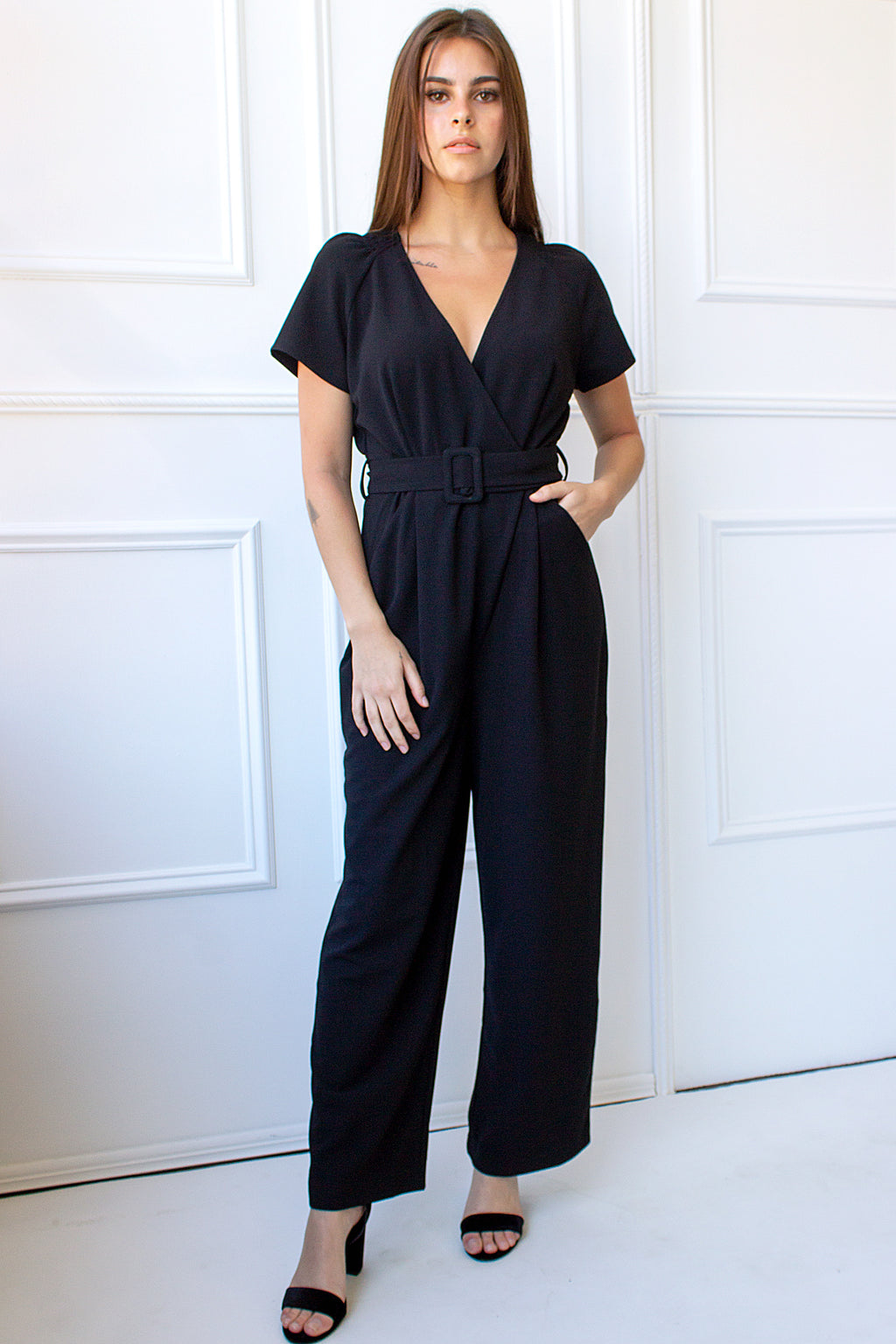 Gwen Belted Jumpsuit - black