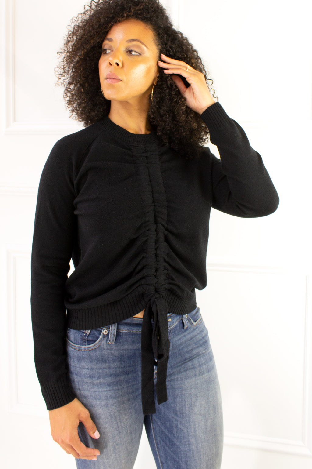 Midtown Scrunch Sweater - black