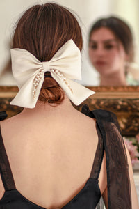 Silk and Pearl Bow Bridal Accessory for your Hair