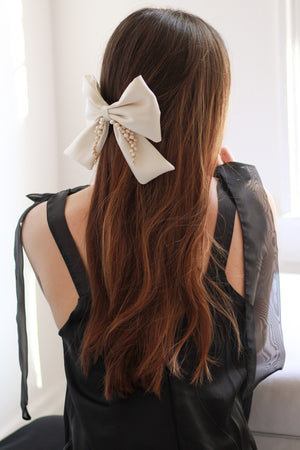Large Ivory Silk Faille Hair Bow Accessory from Christine Elizabeth Jewelry