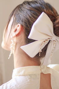 Silk Bow Bridal Hair Clip with Freshwater Pearls