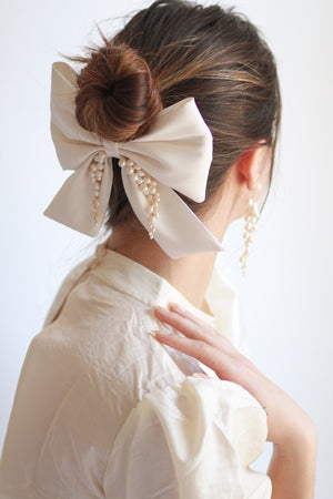 Ivory Silk Faille Bow with Handcrafted Pearl Tendrils on a French Barrette