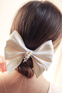 Silk Bow Hair Clip with Pearls from Christine Elizabeth Jewelry