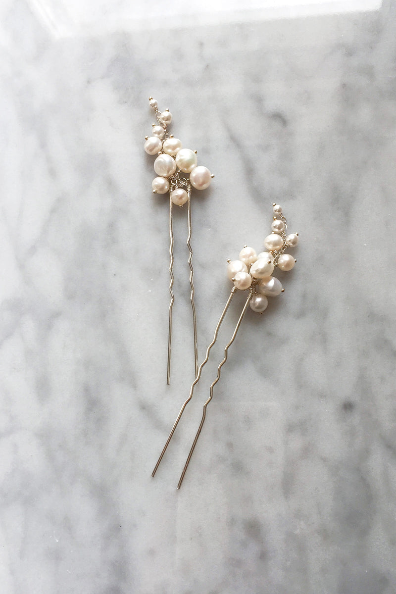 Pearl Tendril Hair Pins - Christine Elizabeth Jewelry