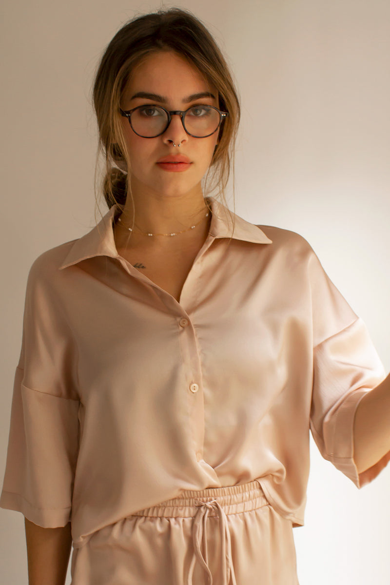 satin button down blouse in blush pink
