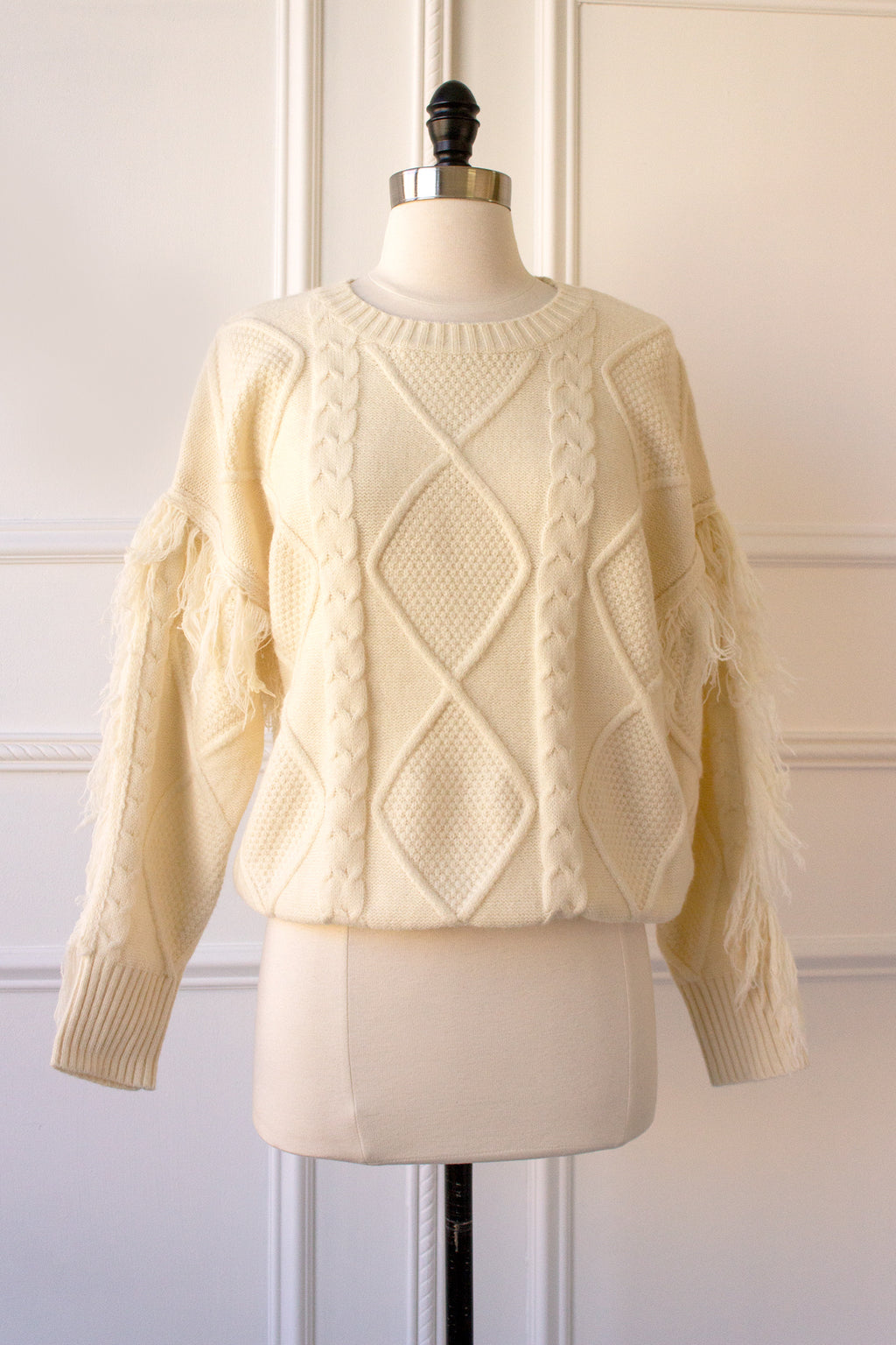 Cream Fringe Sweater for a Boho Look