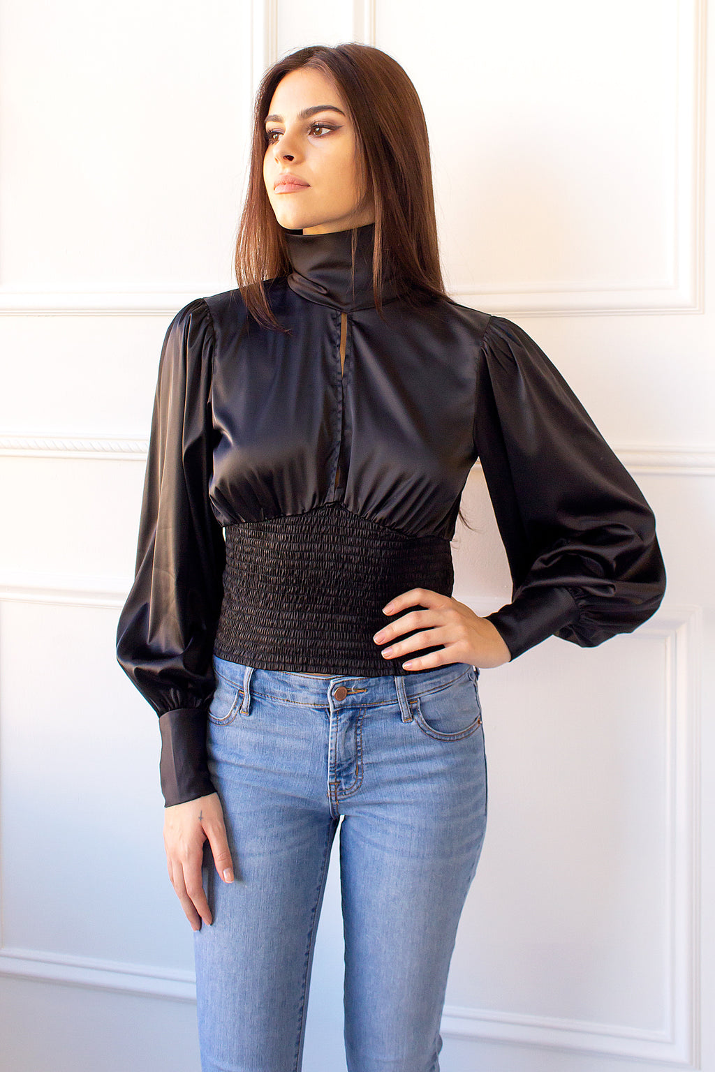 Colette Satin Blouse - black