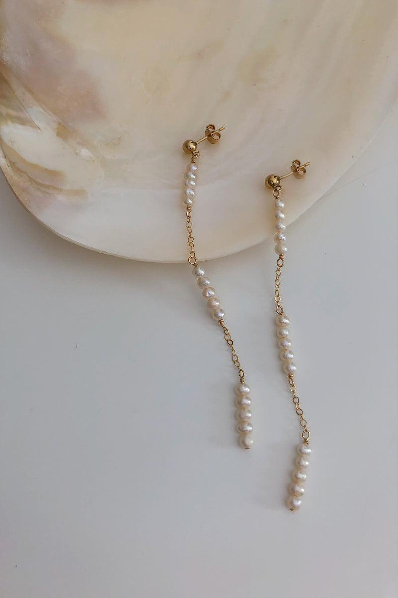 Delicatessa Long Freshwater Pearl Earrings - Christine Elizabeth Jewelry