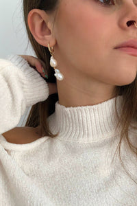 Double Baroque Pearl Mini Hoop Statement Earrings from Christine Elizabeth Jewelry
