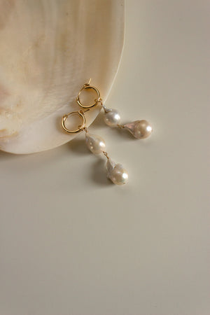 Double Baroque Pearl Mini Hoop Earrings - Christine Elizabeth Jewelry